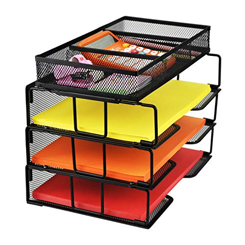 ProAid Mesh Office Desk Organizer 3-Tier Stackable Letter Tray Organizer Sorter with 3 Compartments, Black by ProAid