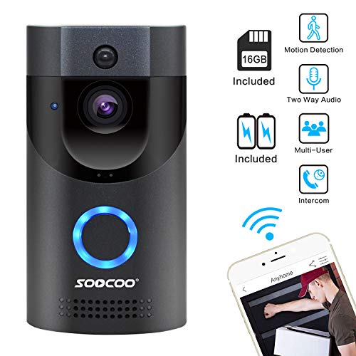 WIFI Video Doorbell, SOOCOO Smart Doorbell 720P HD Wifi Security Camera Real Time Video Two Way Audio 16G Card and 2 Batteries IP65 Waterproof PIR Motion Detection Night Vision APP Monitor Gray