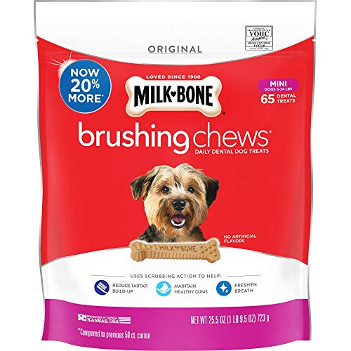 Milk-Bone Brushing Chews Daily Dental Dog Treats, Mini, 25.5 oz Pouch