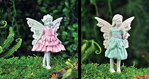 Bundle of 2 Fiddlehead Fairy Garden Fairies Blue and Pink