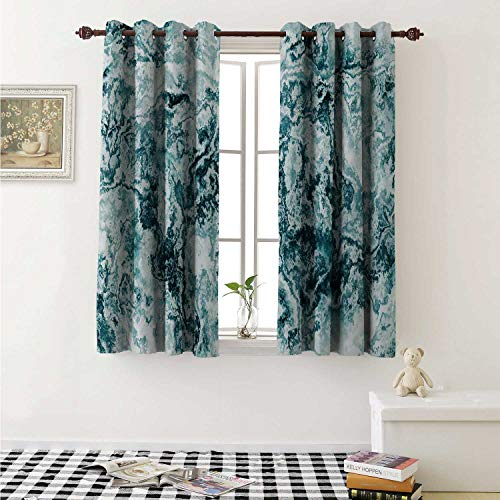 shenglv Marble Decorative Curtains for Living Room Abstract Rock Texture Modern Stylized Retro Splashes Antique Dark Design Curtains Kids Room W72 x L72 Inch Jade Green Teal White