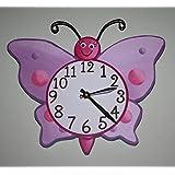 Lilac Butterfly Wooden WALL CLOCK Girls Bedroom Baby Nursery Art Decor WC0026