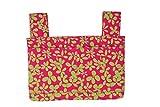 Qelse Designer Walker Bag 3-Pocket Tote Organizer Pouch HOT PINK FLORAL Accessories for Beautiful Mobility