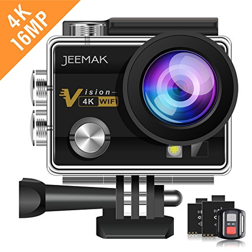 JEEMAK Action Camera 4K 16MP WiFi Underwater 30m Waterproof Cam 170° Wide Angle Len with Remote Control 2 Batteries and Portable Package