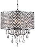 Whse of Tiffany SU7139-4CR Oisetta 4 light Crystal Round Chandelier17 Chrome Finish
