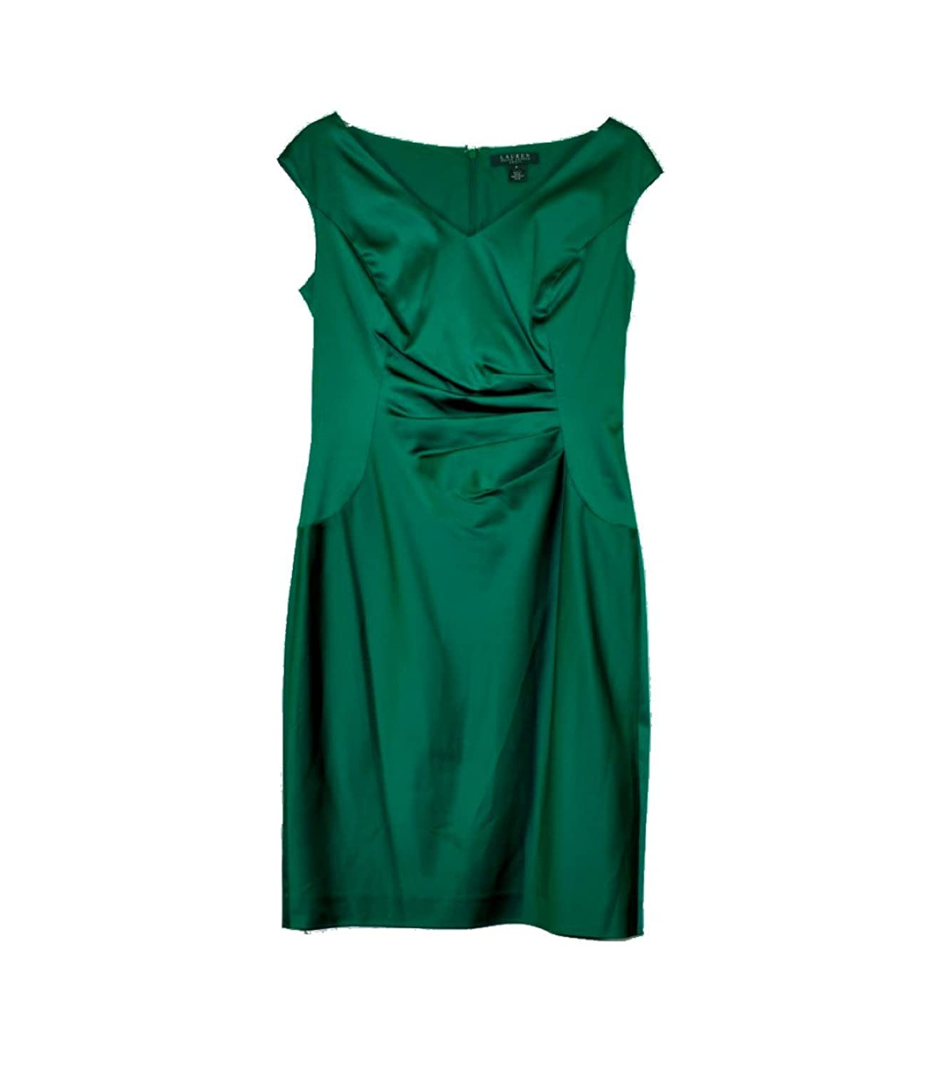Lauren Ralph Lauren Women's V-Neck Satin Sheath Dress (Emerald, 8)