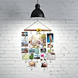 O-KIS Photo Display for Wall Decor, Hanging Picture Frame with 20 Clips, Aged Walnut Wood, Golden Chain with Crystal Pendant,16×29 inch