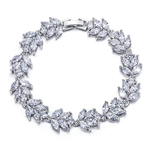 EVER FAITH Silver-Tone Full Cubic Zirconia December Birthstone Leaf Bridal Roman Tennis Bracelet Clear
