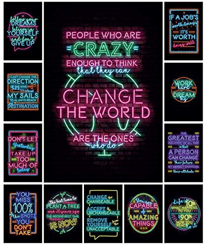 12 Motivational Posters – Neon Sign Style Wall Art – Decorate your classroom, bedroom, or home office with inspirational…