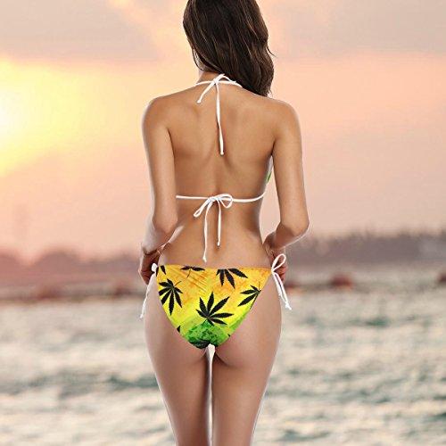 de coloridas multicolor de mujer Conjunto Marihuana de dos piezas ba Traje o de Hojas Alaza bikini Cannabis UqfxBvB4gw