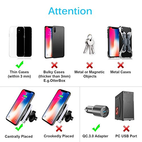 Magnetic Wireless Car Charger, DOCA Magnet QI Wireless Car Charger Mount Holder with Air Vent for iPhone X iPhone 8/8 Plus Galaxy Note 8 S8/S8 Plus S7 Edge and Any QI Enabled Phones by DOCA (Image #3)