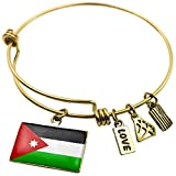 Expandable Wire Bangle Bracelet Jordan Flag - NEONBLOND