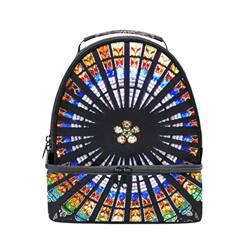 Lunch Box Insulated Gorgeous Rose Window Decoration Sturdy Double Layer Handbags Women Kitchen Roomy Bento Lunch Box Dinner For Girls Picnic Bag With Shoulder Strap