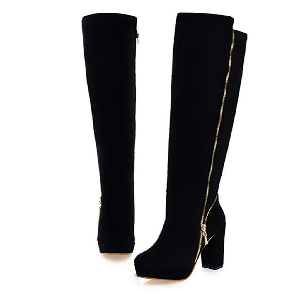 RedBrowm Round-Head Thick High-Grade Wear-Resistant Anti-Slip High-Grade Over-Knee Boots