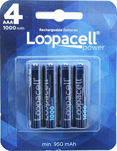 Loopacell AAA Ni-MH 1000mAh Rechargeable Batteries 4 Pack