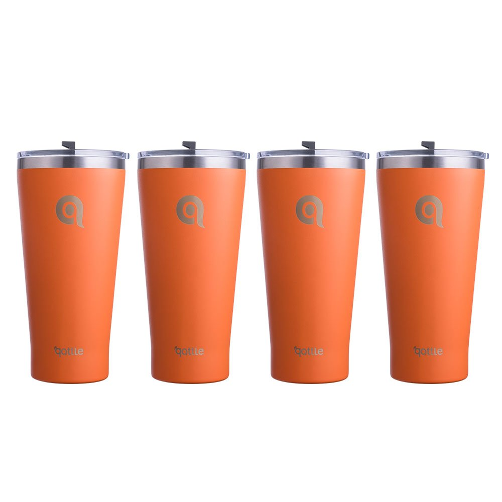 qottle 4pack Family Set 30 oz Stainless Steel Tumblers, Orange Powder Coated (Teal with Spill Proof Lid)
