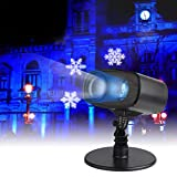 LED Projection Lights,Rotating Gobos Spotlight Garden Landscape Projection Lighting Indoor Outdoor Decoration Night Light for Halloween Christmas Holiday Party (Blue Wave & White Snowflake)