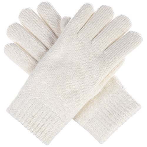 BYOS Winter Womens Toasty Warm Plush Fleece Lined Knit Gloves, 14 Solid Colors (Ivory)