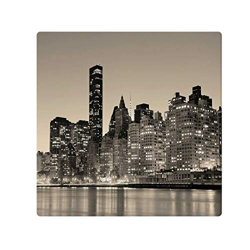 - C COABALLA New York Comfortable Doormat,Manhattan Skyline at Night East River Panoramic Famous City Urban Life in USA Decorative for Home Office,47.2