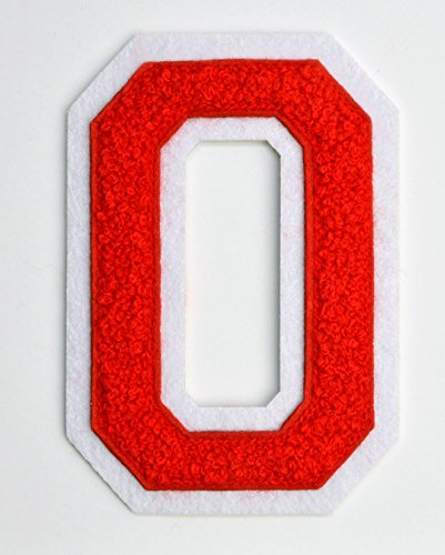 Varsity Letter Patches - Red Embroidered Chenille Letterman Patch - 4 1/2 inch Iron-On Letter Initials (Red, Letter O Patch)