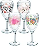 Cheap Tervis 1232711 Cherry Blossom, Berry Swirlwind, Pink Mums, Boho Chic Tumbler with Wrap 4 Pack 9oz Wine Glass, Clear