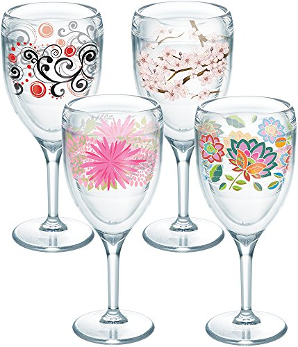 Tervis 1232711 Cherry Blossom, Berry Swirlwind, Pink Mums, Boho Chic Tumbler with Wrap 4 Pack 9oz Wine Glass, Clear