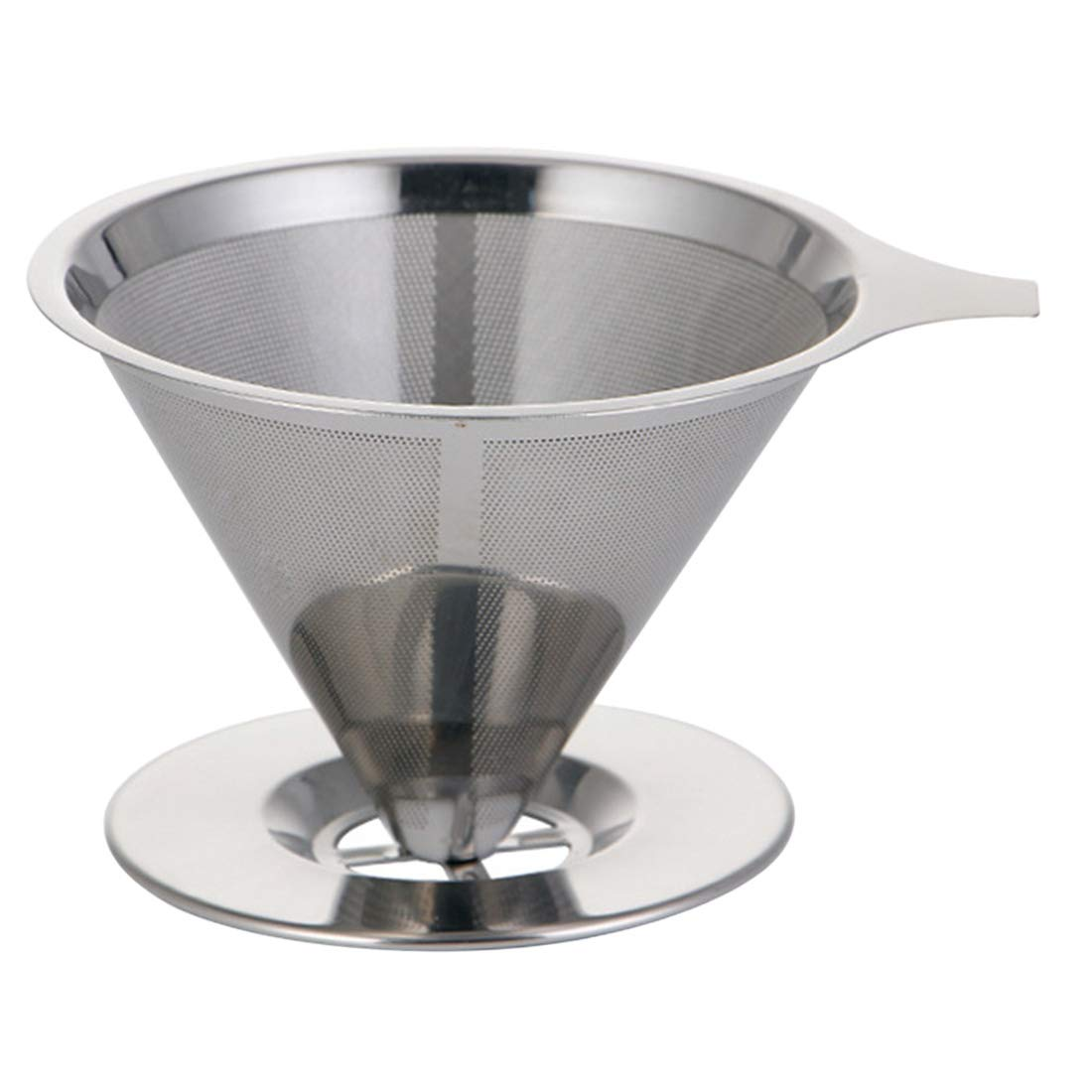 Enerhu Stainless Steel Pour Over Coffee Dripper Slow Drip Coffee Filter Cone Reusable Serve Coffee Maker