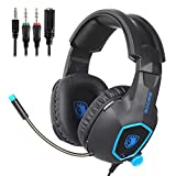 Gaming Headset for Xbox One, PC, PS4 Controller, SADES SA818 Stereo Headset 3.5mm Over-ear Headphones with Mic In-line Volume Control for New Xbox One PS4 PC Mac Laptop Computer Smart phones