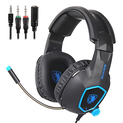 [2018 SADESd Multi-Platform New Xbox one PS4 Gaming Headset ], Gaming Headsets Headphones For New Xbox one PS4 PC Laptop Mac (Black&Blue)