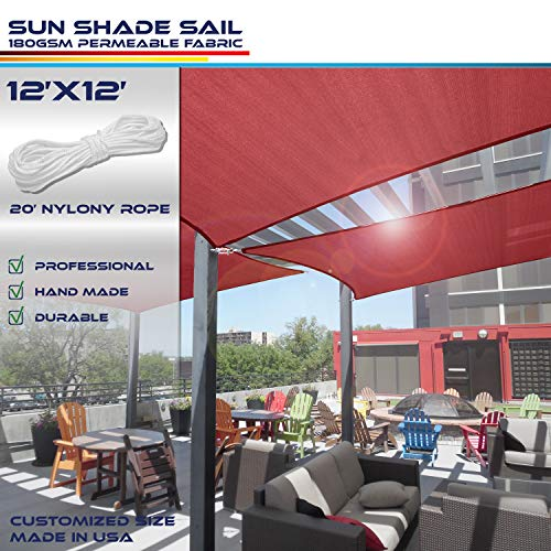 Windscreen4less 12 x 12 Sun Shade Sail UV Block Fabric Canopy in Ruby Red Square for Patio Garden Customized 3 Year Warranty