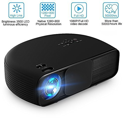 Video Projector Joyhero 4000 Lumens HD Viedo LCD Projector Support 1080P for Home Cinema Theater Conference Educate Entertainment Games Party Smartphone - Black by Joyhero