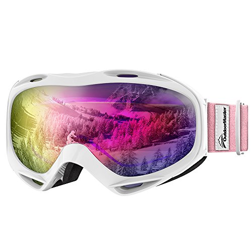 Womens Ski Snowboard Goggles - OutdoorMaster OTG Ski Goggles - Over Glasses Ski / Snowboard Goggles for Men, Women & Youth - 100% UV Protection (White Frame + VLT 45% Purple Lens with Full REVO Red)