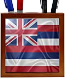 Rikki Knight RK-PH2684 Hawaii State Flag Design 5-Inch Wooden Tile Pen Holder (RK-PH2684)
