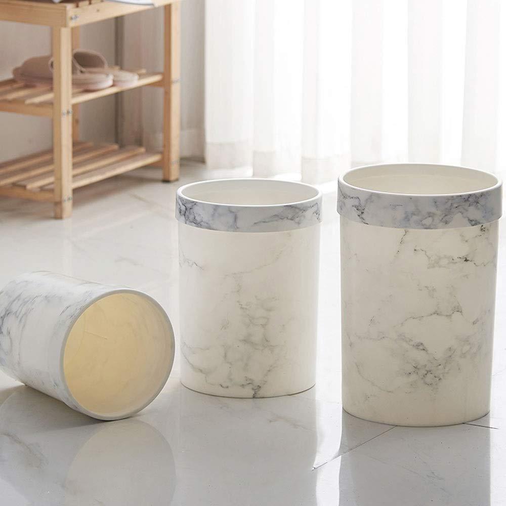 Kunststoff M/ülleimer Marmor Badezimmer Schlafzimmer Wohnzimmer kreisf/örmige M/ülleimer Color : Schwarz