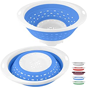 QiMH Collapsible Colander and Strainer, 5 Quart(1.25 gal) BPA Free & Dishwasher-safe Silicone Foldable Strainer, Heavey Duty Kitchen Drainer Basket for Pasta, Veggies and Fruits