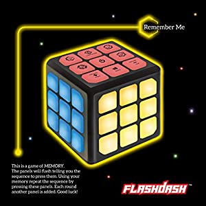 """Make sure this fits by entering your model number. FUN FOR KIDS AND ADULTS 🎮: Flashdash offers 4 quick-fingered games in a unique light-up cube design. Great for home and travel, these fun handheld games help improve brain skills and hand-eye coordination. Volume is adjustable and can be muted entirely. Requires 3x AAA batteries (not included). SPEED GAMES 🎮: (1- Chase Me) Don't let the moving light get out of your sight! Race it with your fingers by pressing the buttons while rotating the cube. (2- Catch Me) Quickly press the blinking red lights before time runs out while avoiding green lights and grabbing some """"bonus"""" blue lights!"""