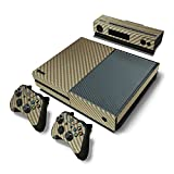 Zhuhaixmy Gold Carbon Fiber Sticker Decal Skin Set For Microsoft Xbox One Console+Controllers