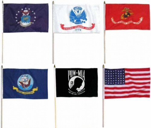 (ALBATROS 12 inch x 18 inch U.S. Military Branches USA and Pow Mia Stick Set Flag with Wood Staff for Home and Parades, Official Party, All Weather Indoors Outdoors)