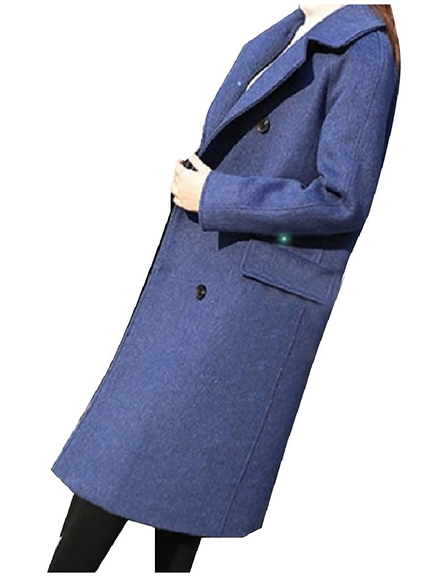 Abetteric Womens Lapel Double Breasted Wool Blends Custom Fit Parka Outwear
