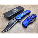 Master Collection Assisted Opening Rescue Tactical Pocket Folding Collection Knife Outdoor Survival Camping Hunting w/ Dragon Design - Blue