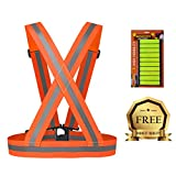 Reflective Safety Vest - Lightweight, Elastic, Easily Adjustable Sports Gear - High Visibility Day & Night for Safe Jogging, Cycling, Working, Motorcycle Riding, Running, Dog Walking & Hiking