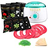 Hair Removal Wax Strip Kit - 【24 in 1】Yeelen Wax Warmer Hair Removal Waxing Kit Wax Melts + 8 Hard Wax Beans (1.76oz/Pack)+ 10 Wax Applicator Sticks