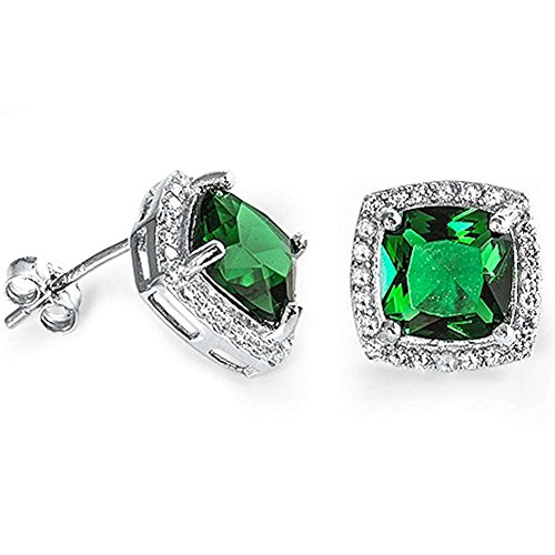 (Halo Cushion Bridal Earrings Simulated Green Emerald Round Cubic Zirconia 925 Sterling Silver)