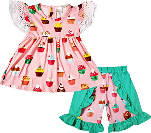 Angeline Boutique Baby Girls Summer Cupcake Lover Ruffles Top Short Set -