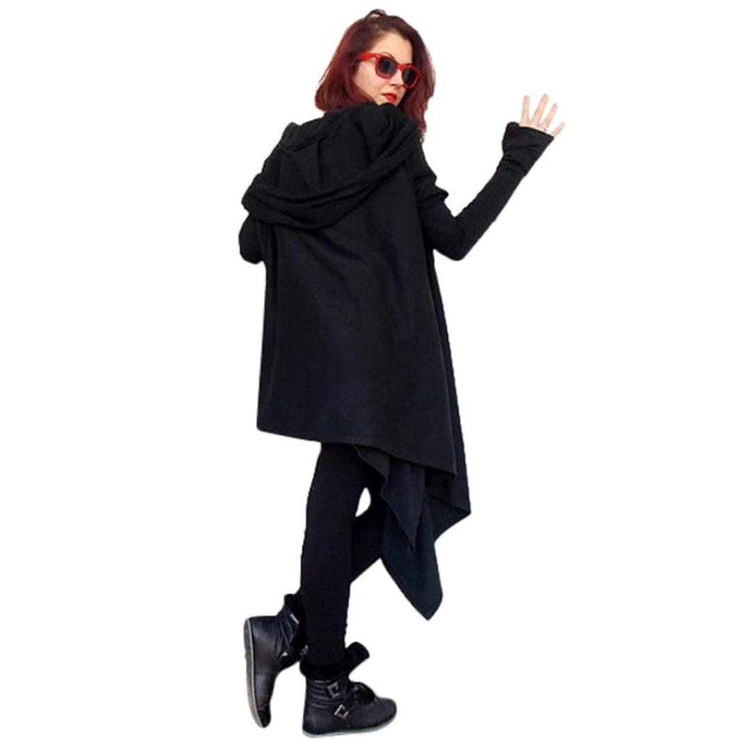 Women 's Autumn Long Cotton Knitted Long Sleeve Sweatshirt Loose Irregular Soft Sweater Lightweight Pullover Tops Blouse T-Shirt (Black, L)