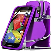 ONX3® ( Purple ) Motorola Moto G 4G (2015) 2nd generation Case Custom Made S Line Wave Gel Case Skin Cover With LCD Screen Protector Guard, Polishing Cloth, Aluminium In Ear Earbud Stereo Hands Free Earphone & Mini Retractable Stylus Pen