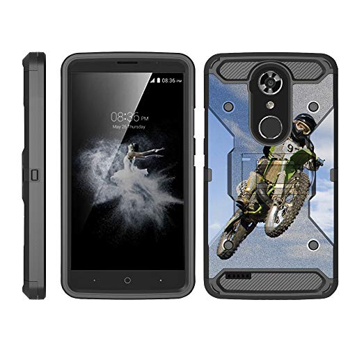 (TurtleArmor | Compatible for ZTE ZMax Pro Case | ZTE Blade X Max Case [Armor Pro] Heavy Duty Full Body Kickstand Holster Belt Clip Armor Case Sports and Games Design - Motocross Bike)