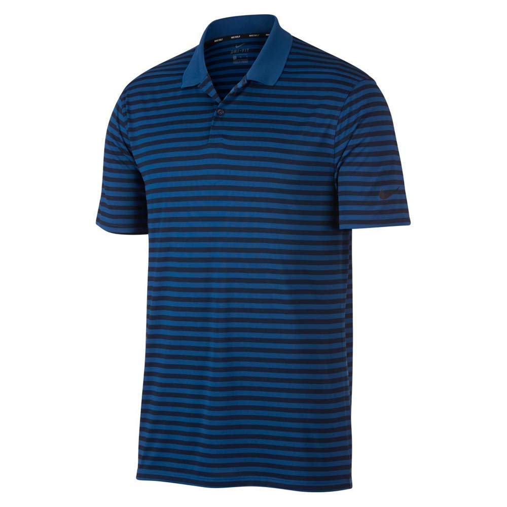 Nike New DRI FIT Victory Stripe Golf Polo Gym Blue/Obsidian/Black Small