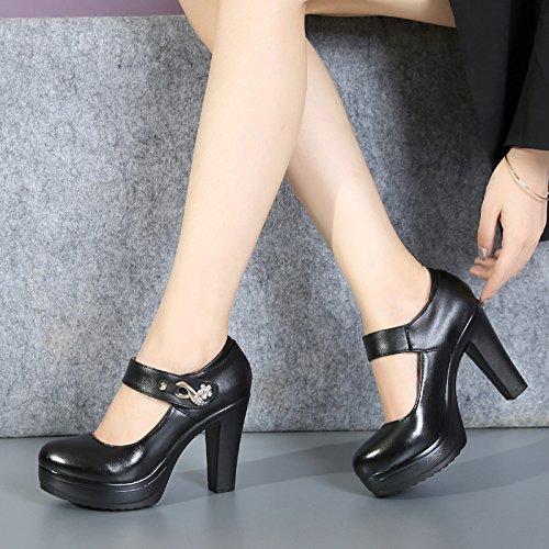 10Cm Cheongsam Shoes Tacon Grueso Show Negro Cabeza Fondo Redonda Alto De Hembra Zapatos Paseo GTVERNH Super twCvq