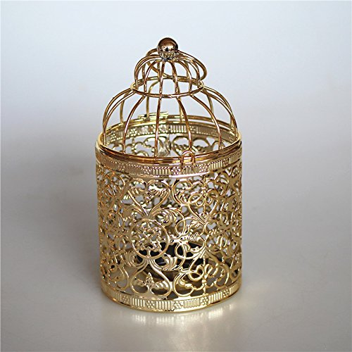 DaoRier cr/éatif Chandelier Forme Cage Doiseau en M/étal Accessoire D/écor de Mariage Romantique Bougeoir Lanterne Suspendue pour la Maison D/écoration Artisanat